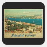 Vintage Istanbul Turkey Square Stickers
