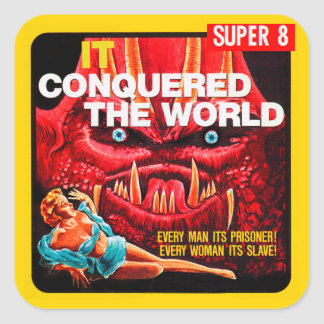 "Vintage ""It Conquered The World"" Film Box Square Sticker"