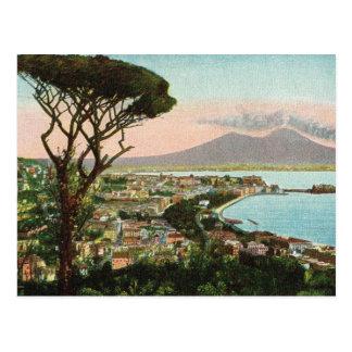 Vintage Italia, bahía de Nápoles y de Vesuvio Tarjetas Postales