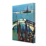Vintage Italia, barcos de pesca, Chioggia, Impresión En Lienzo Estirada
