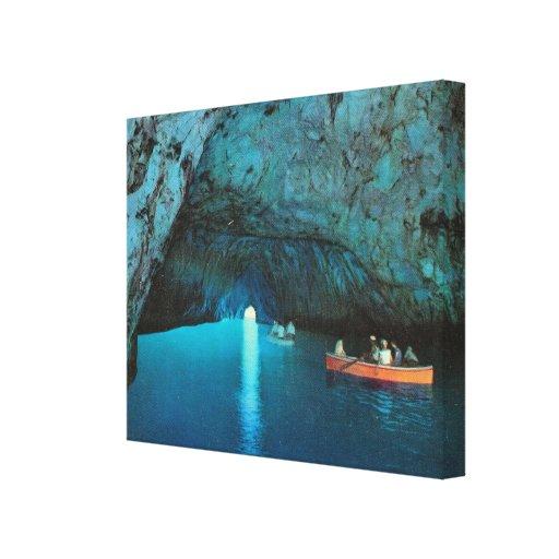 Vintage Italia, Capri, turista en la gruta azul Impresión En Lienzo
