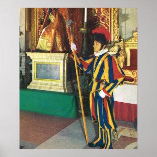 Vintage Italia, guardia suizo, Vatican Póster