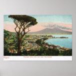 Vintage Italia, la bahía de Nápoles y Vesuvio Posters