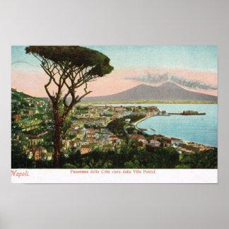 Vintage Italia, la bahía de Nápoles y Vesuvio Póster