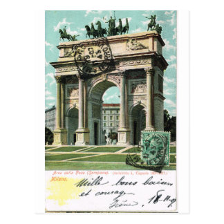 Vintage Italia, Milano, paso del della de Arco, Tarjeta Postal