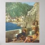 Vintage Italia, relajándose en la costa de Amalfi, Poster