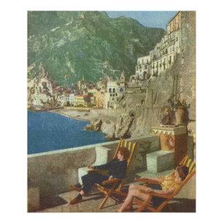 Vintage Italia relajándose en la costa de Amalfi Poster