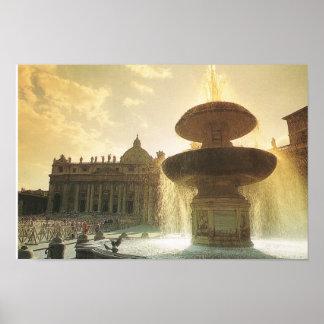 "Vintage Italia, Roma, Vatican, plaza ""S Pedro "" Póster"