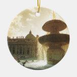 Vintage Italia, Roma, Vatican, San Pedro Adorno Navideño Redondo De Cerámica