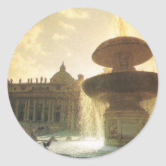 Vintage Italia, Roma, Vatican, San Pedro Pegatina Redonda