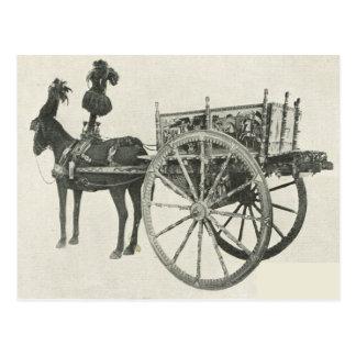 Vintage Italia, Sicilia, carro pintado tradicional Tarjeta Postal