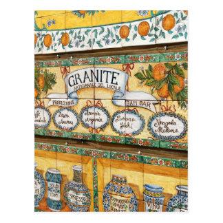 Vintage Italia, Sicilia, muestra tejada de la Postales