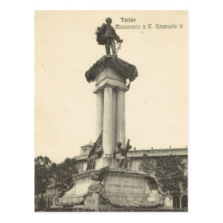Vintage Italia, Torino, Vittorio Emmanuelle II Tarjeta Postal