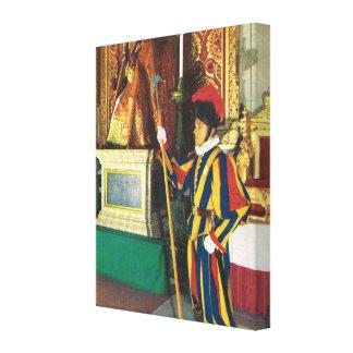 Vintage Italia, Vatican, Roma, guardia suizo Impresión En Tela