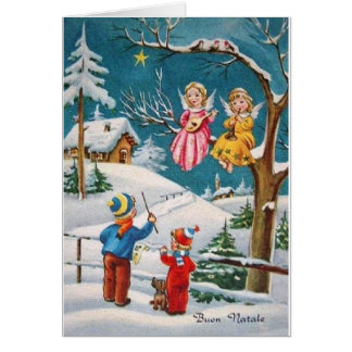 Vintage Italian Angel Musicians Christmas Card