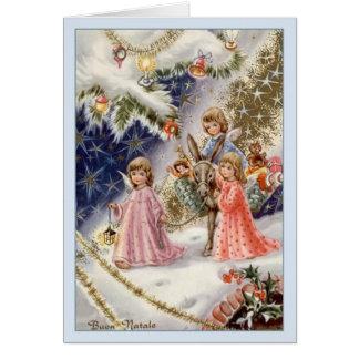 Vintage Italian Angels Buon Natale Christmas Card