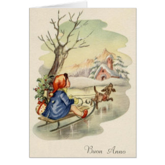 Vintage Italian Buon Anno Happy New Year Card