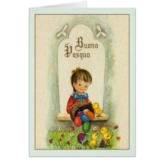 Vintage Italian Easter Buona Pasqua Greeting Card
