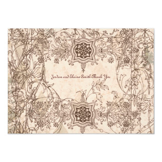 """Vintage Italian Faded Pink Personalized Thank You 4.5"""" X 6.25"""" Invitation Card"""
