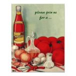 Vintage Italian Food, Tomato Onion Cooking Party 4.25x5.5 Paper Invitation Card