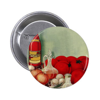 Vintage Italian Food Tomato Onions Peppers Catsup 2 Inch Round Button