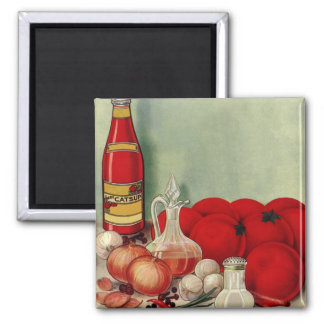 Vintage Italian Food Tomato Onions Peppers Catsup 2 Inch Square Magnet