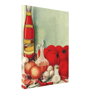 Vintage Italian Food Tomato Onions Peppers Catsup Canvas Print