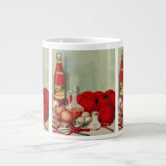 Vintage Italian Food Tomato Onions Peppers Catsup Giant Coffee Mug