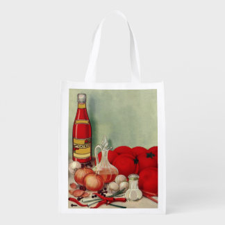 Vintage Italian Food Tomato Onions Peppers Catsup Grocery Bag
