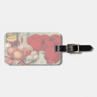 Vintage Italian Food Tomato Onions Peppers Catsup Luggage Tag