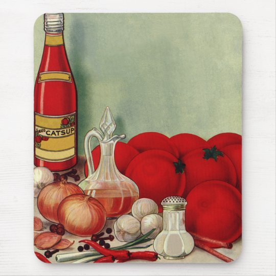 Vintage Italian Food Tomato Onions Peppers Catsup Mouse Pad