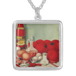 Vintage Italian Food Tomato Onions Peppers Catsup Pendants