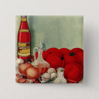 Vintage Italian Food Tomato Onions Peppers Catsup Pinback Button