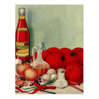 Vintage Italian Food Tomato Onions Peppers Catsup Post Card