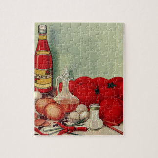 Vintage Italian Food Tomato Onions Peppers Catsup Puzzle
