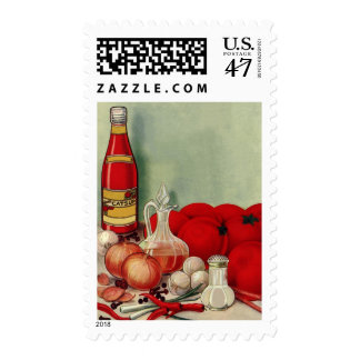 Vintage Italian Food Tomato Onions Peppers Catsup Stamp