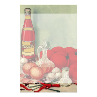 Vintage Italian Food Tomato Onions Peppers Catsup Stationery
