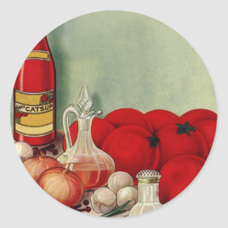 Vintage Italian Food Tomato Onions Peppers Catsup Round Sticker