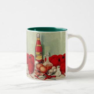 Vintage Italian Food Tomato Onions Peppers Catsup Two-Tone Coffee Mug