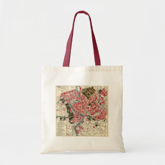 Vintage Italian Italy Roma Map of Rome Canvas Bags