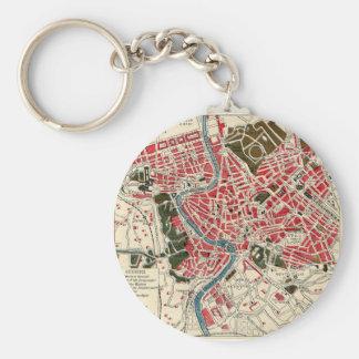 Vintage Italian Italy Roma Map of Rome Basic Round Button Keychain