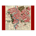 Vintage Italian Italy Roma Map of Rome Post Cards