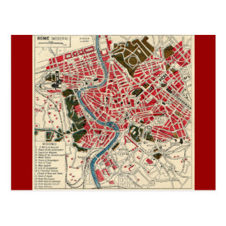 Vintage Italian Italy Roma Map of Rome Postcard