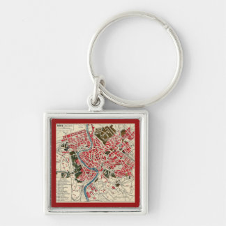 Vintage Italian Italy Roma Map of Rome Silver-Colored Square Keychain