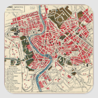 Vintage Italian Italy Roma Map of Rome Square Sticker
