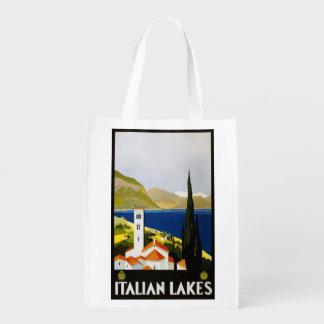 Vintage Italian Lakes Italy reusable bag Reusable Grocery Bags