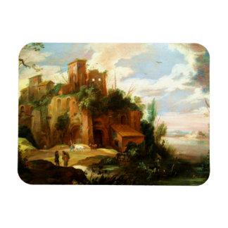 Vintage Italian Landscape with Ruins Rectangular Photo Magnet