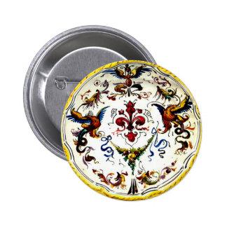 Vintage Italian Majolica Pottery Art Antique Button