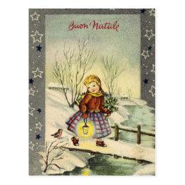 Vintage Italian Merry Christmas Buon Natale Girl Postcard