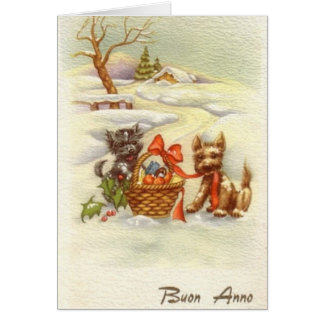 Vintage Italian New Year Greeting Card
